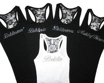 5 Bridesmaid Tank Tops, Bridesmaid Shirts, Bride Shirt, Bride Tank Top, Lace Tank Top, Bachelorette Party Shirts, Will You Be My Bridesmaid