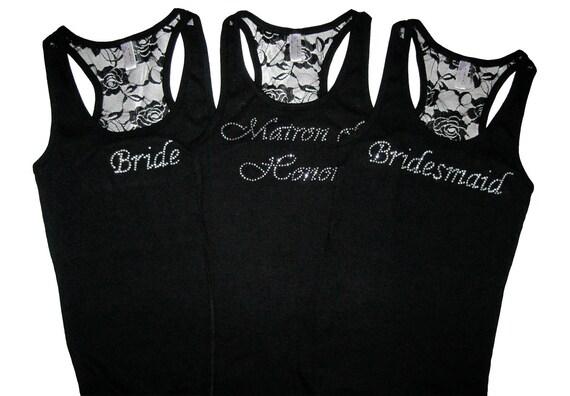 3 Bridesmaid Tank Top Shirt. Bridal Party Lace Tank Top Shirts. Bride Tank Top Shirt. Maid of Honor. Wedding Party Clothes.