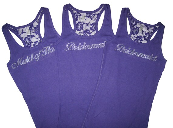 3 Bridal Party Lace Tank Tops. Sizes S to 3XL. Bride. Bridesmaid. Maid of Honor. Matron of Honor. Mother of the Bride.