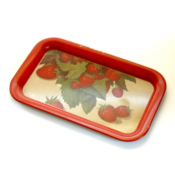 Red Strawberry Metal Tray