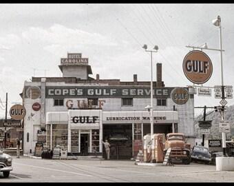 Vintage 50s Gulf Service Station in Sylva, North Carolina, 8x12 prints from Original Negative