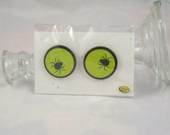 Lime Green Web & Glittery Spider Earrings