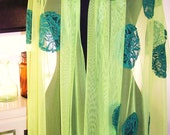 Elibelindeart/dotted  dark green laces on green tulle shawl.....special, unique, chic,shawl store