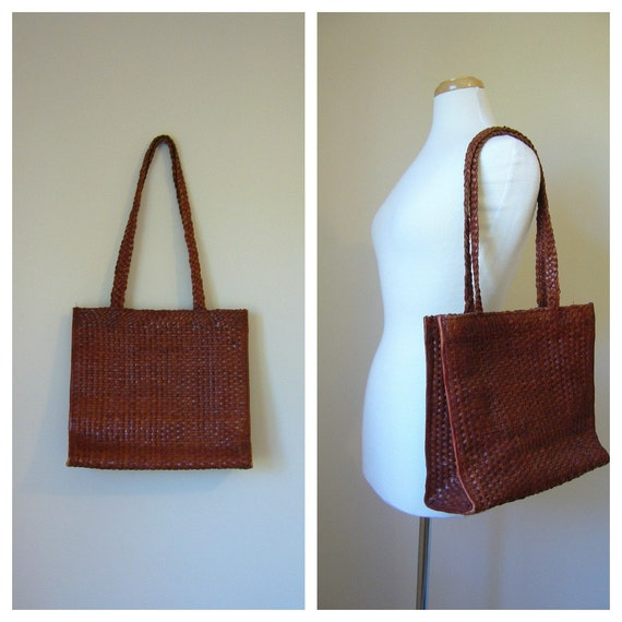 Vintage WOVEN BROWN LEATHER Tote/Bag