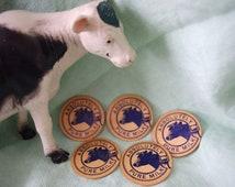 "Vintage Milk Caps: Unused ""Absolutely Pure Milk"" Cow Graphic Cardboard"
