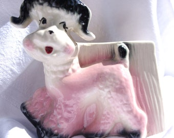 Vintage Pink & Black Poodle Planter by O.P. Company