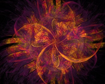 Orange Fractal Cross Stitch Pattern  - Vintage Photograph  -  Fine Art Photography