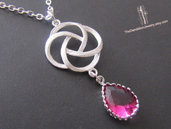 SALE 10% OFF - Rose pendant necklace in white gold, glass pendant