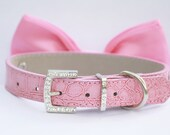 Pink Dog Bow Tie - Pink Dog Bow tie, Chic and Elegant, Love Pink- with high quality leather collar