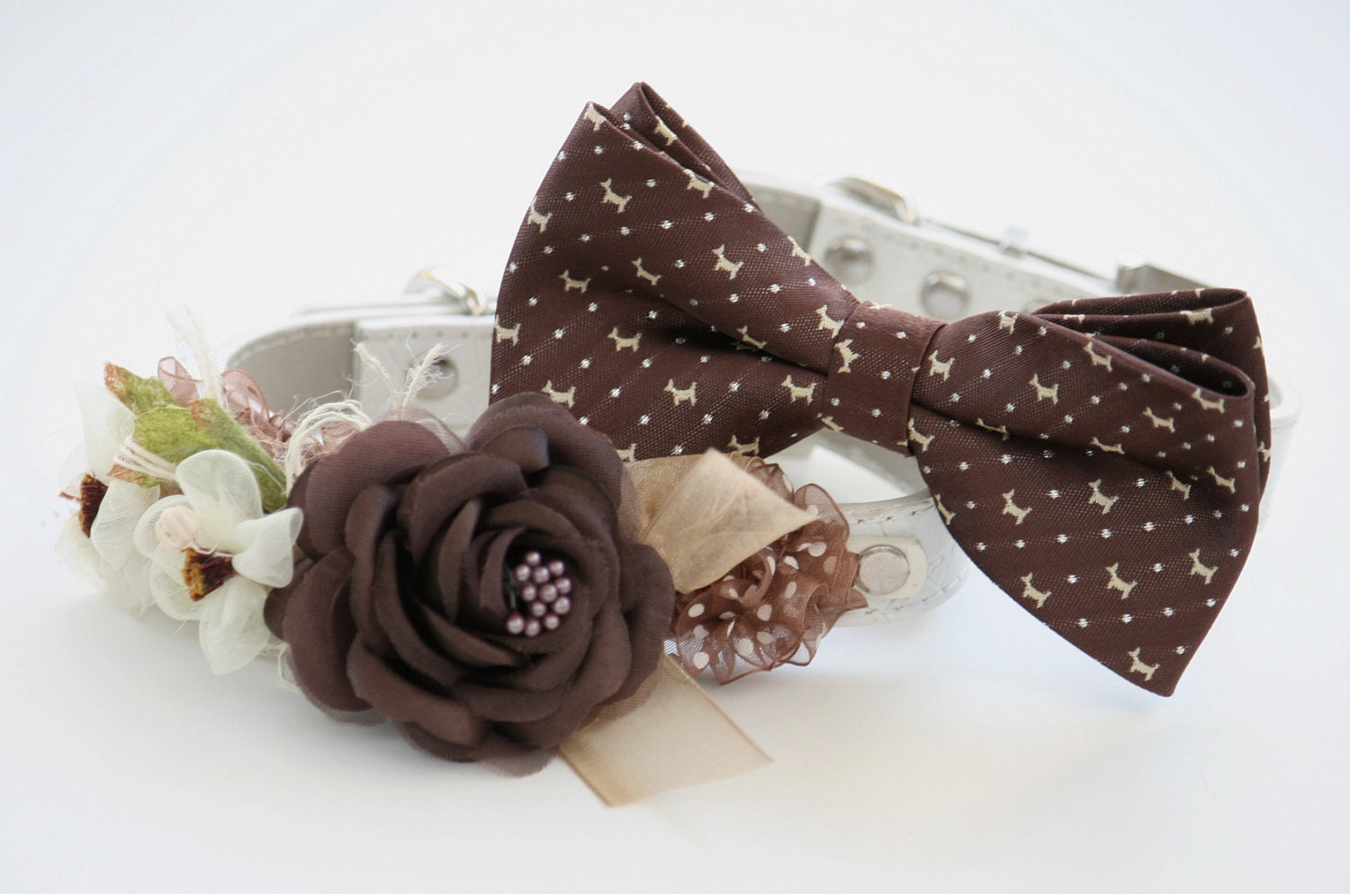 brown wedding dog collars two chic wedding dog by ladogstore