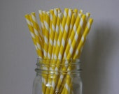 25 Bright Yellow Striped Paper Straws and Printable Flag Toppers
