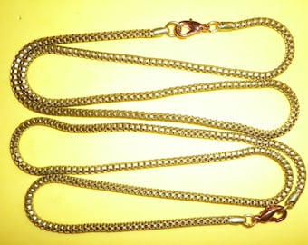 """2 Vintage Brass 18"""" Serpentine Tube Chains with Lobster Claw Clasp"""