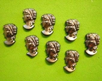8 Vintage West German Glass 12x8mm Left Facing Roman Heads
