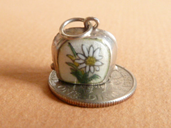 Vintage German  silver 800  Rare Guilloche Enamel  Edelweiss Cow Bell  Alpine Charm
