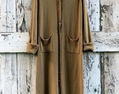 Fall & Flowers Maxi Sweater/ upcycled brown maxi cardigan/ eco friendly boho sweater jacket