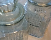Kitchen storage glass cookie jars dog treat jars airtight waffle weave glass containers set of 2 by Koezes