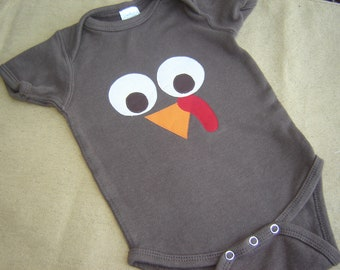 Custom Brown Turkey Face/Thanksgiving Onesie - Fall