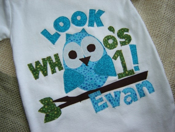 Personalized Owl/Look Whooo's Birthday Onesie or Shirt - Boy - Turquoise/Blue/Green
