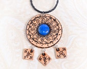 Royal Blue Gem Medallion - Round Wooden Pendant  - Pyrography Wood Jewelry