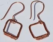 Copper Dainty Rectangle Wrapped Dangle Earrings