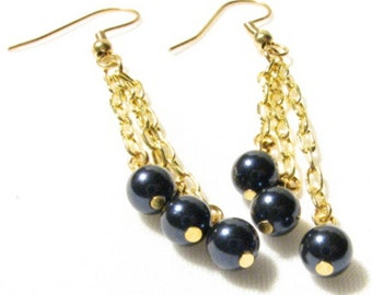 SALE! Pearl and Chain Earrings
