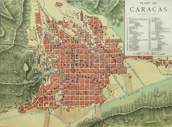 1900 Antique rare city map of CARACAS, VENEZUELA. 112 years old map.