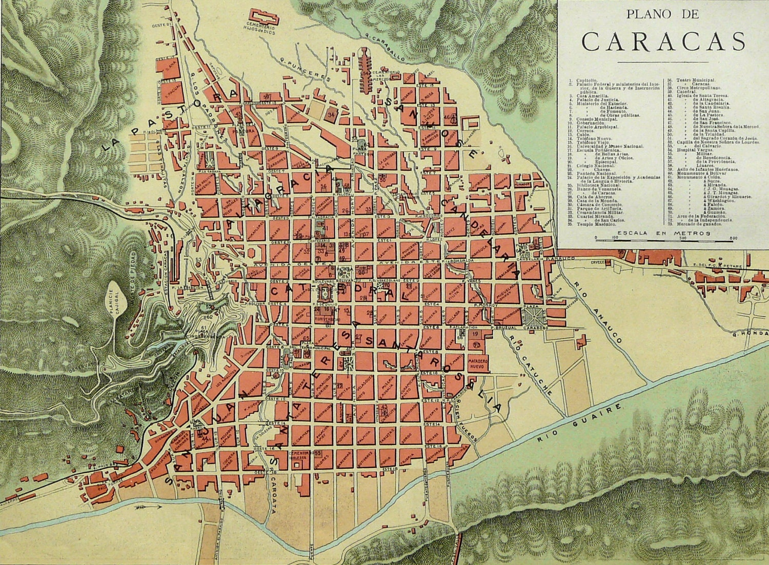 1900 Antique rare city map of CARACAS by AntiquePrintsOnly on Etsy