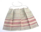 RESERVED for Erica Apron vintage new old stock red and grey Estonian 60s 70s chef cook light grey