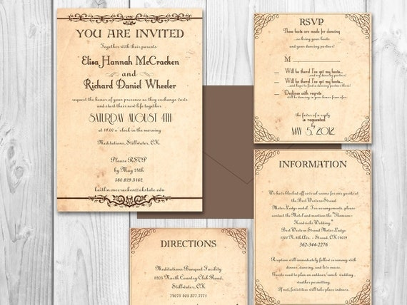 Free Rustic Wedding Invitation Printable Templates : RUSTIC WEDDING INVITATIONS - printable invitation set rustic country ...