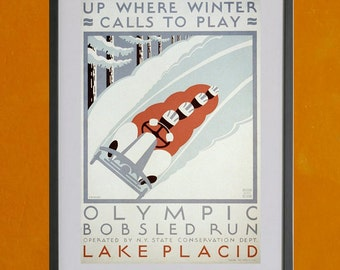 Up Where Winter Calls To Play Lake Placid  W.P.A. Poster - 8.5x11 Poster Print - also available in 13x19 - see listing details