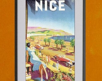 Nice, France PLM Retro Travel Poster - 8.5x11 Poster Print - also available in 11x14 and 13x19 - see listing details
