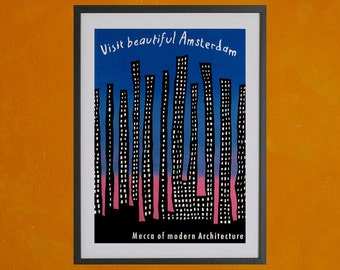 Visit Beautiful Amsterdam - 8.5x11 Poster Print - also available in 13x19 - see listing details