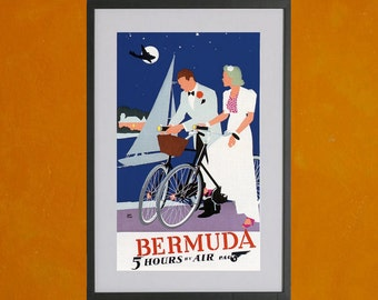 Bermuda 5 Hours By Air Pan Am Poster - 8.5x11 Poster Print - also available in 13x19 - see listing details