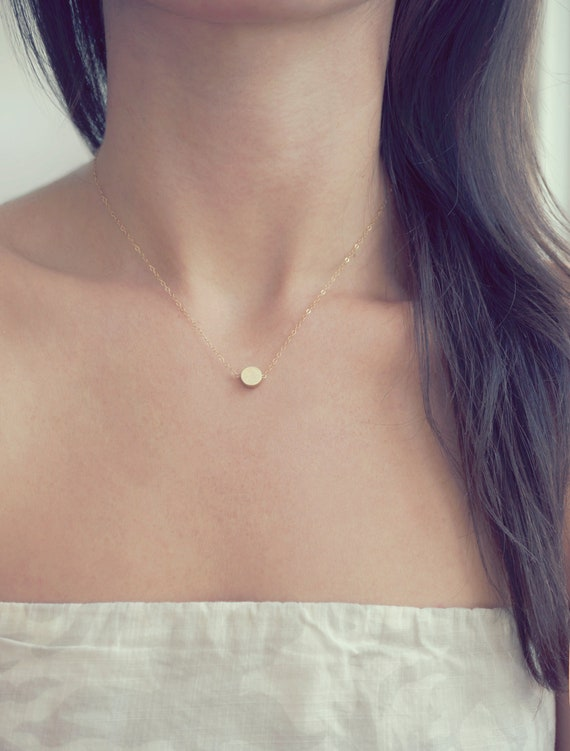 14k Tiny Gold Dot Necklace