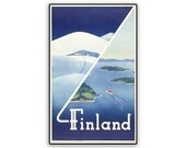 Finland Vintage Travel Poster Reprint on 8x13 PopMount Ready to Hang