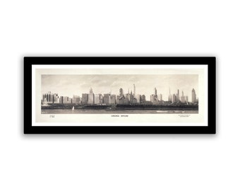 Vintage Photo Chicago Skyline on 13.25x5.25 PopMount Ready to Hang FREE SHIPPING