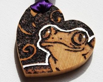 Love Token - Pyrography Wooden Heart-  Tree Frog Love Token