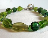 Green Glass Bracelet with Silver Toggle Clasp
