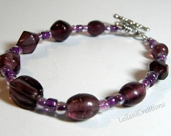 Purple Glass Bead Bracelet with Silver toggle clasp
