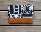 african batik, fold-over clutch, cotton and leather