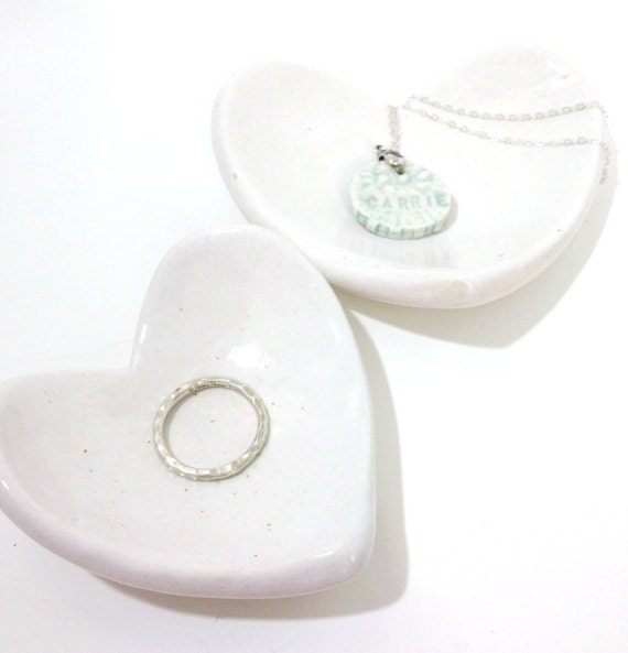 White Heart Ring Dish Plate Porcelain Nesting Heart Dishes Set of 2  So Romantic MADE TO ORDER