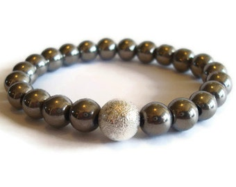 Silver Bead and Stardust Beaded Stacking Bracelet