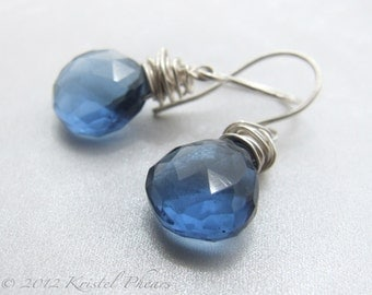 London Blue Quartz earrings - sterling silver royal blue ear wire dangle earring bridesmaid Gift