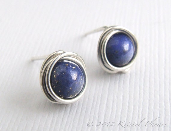 Lapis stud earrings - sterling silver tiny lapis lazuli wire wrapped ear posts royal blue September Birthstone Gift