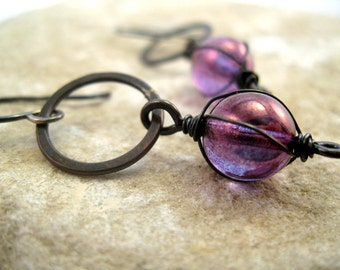 Shiny rainbow purple wire-wrapped bead and hammered copper circle earrings