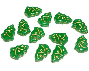 Opaque Green with Gold Inlay Christmas Trees 17x7mm, 12 Pieces Czech Glass Beads, Item 780