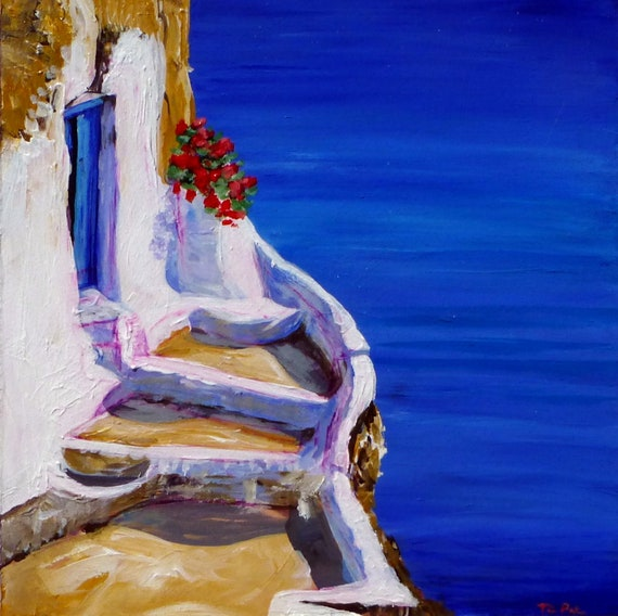 "Original Acrylic Painting (8 x 8 x 3/4 inch) Titled ""Blue Door Blue Ocean"" by Tina Petersen"