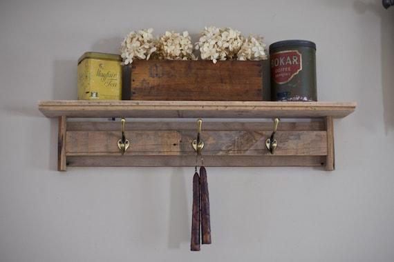 Reclaimed Barnwood Shelf with Hooks