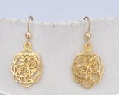 Earrins made of high quality 14K matte gold plated butterfly element pendant and a goldfilled hooks - free shipping