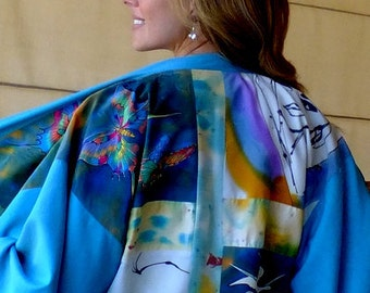 Custom Kimono,One of a Kind, Hand Painted Silk Jacket,Quilting Patches,